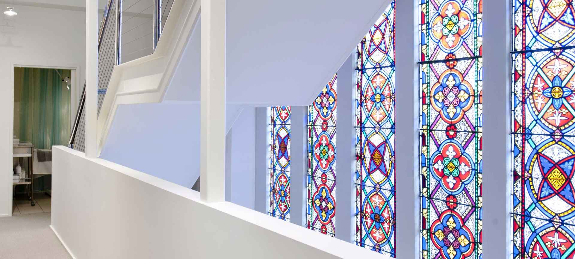 Stain glass windows inside the Cosmetic Refinement Clinic Geelong